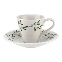 Mistletoe Espresso cup & saucer, 80ml, white/ green