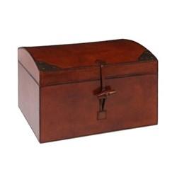 Memory box, L33 x W27 x H23cm, tan leather