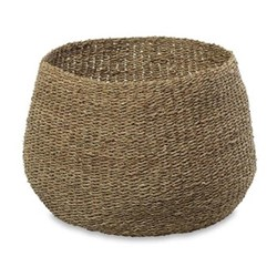 Noko Large round seagrass basket, D31.5 x 42cm, natural