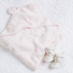 Girls bear hooded towel, large, pink