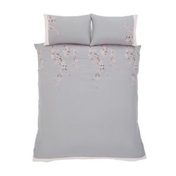 Embroidered Blossom Double duvet set, 200 x 200cm, grey