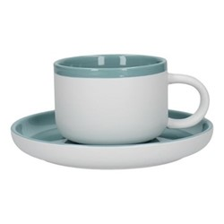 Barcelona Teacup and saucer, 290ml, retro blue