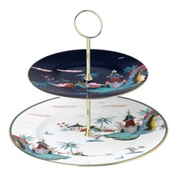 Wonderlust - Blue Pagoda Two tier cake stand, blue