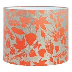 Falling Leaves Drum lampshade, W31 x H24cm, pebble/chilli ombre