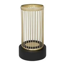 Column Hurricane lamp, H30.5 x D16cm, gold wire