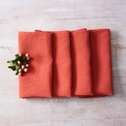 Alma Set of 4 linen napkins, 42 x 42cm, coral