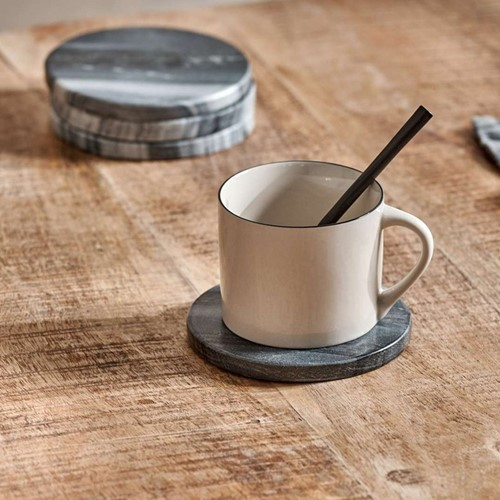 Esa Set of 4 marble coasters, Dia11cm, grey