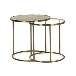 Ringo Pair of side tables, H55 x Dia55cm, brass and faux shagreen