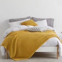 Grove Stonewashed waffle single bedspread, H200 x W150cm, mustard