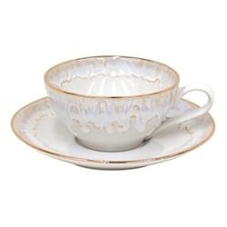 Taormina Set of 6 teacups and saucers, 20cl, white/gold