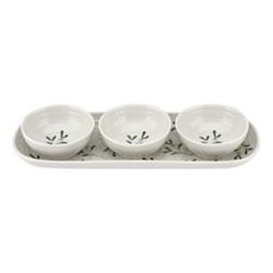 Mistletoe Serving bowl set, L27.5 x W10cm, white/ green
