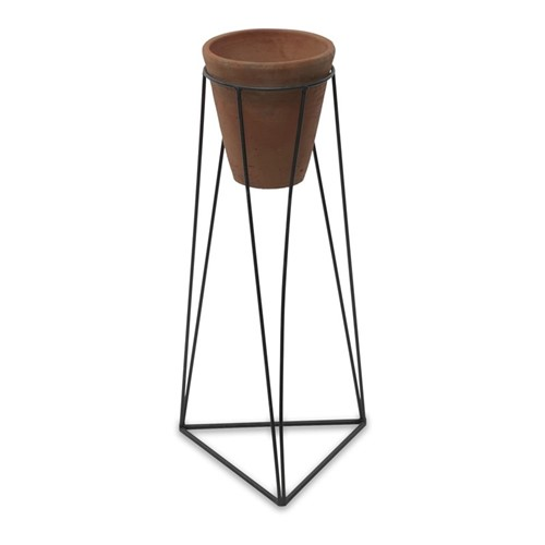 Jara Large terracotta planter with stand, D63 x 29 x 29cm, terracotta/iron