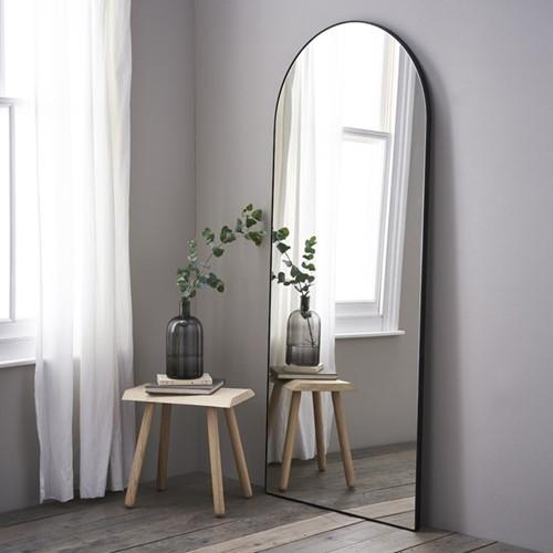 Chiltern Full-length arch mirror, H187 x W79 x D2.5cm, black