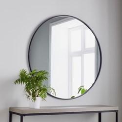 Manhattan Round mirror, L100 x W100 x D2cm, black