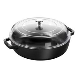 Saute pan with glass lid, 24cm, black