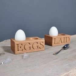Laid Double egg holder, 12 x 7 x 4.5cm, oak