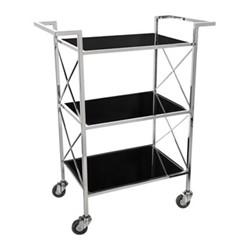 3 tier drinks trolley, H82.5 x W67 x D36cm, black/silver