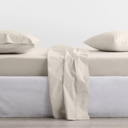 300 Organic Percale Double fitted sheet, 137 x 190 x 38cm, sand