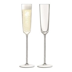 Champagne Theatre Pair of champagne flutes, H26.7 x D7cm, braid/clear