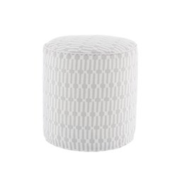 Fresh American - Links Recycled polyester P.E.T. indoor/outdoor pouf, D51 x H51cm, pearl grey