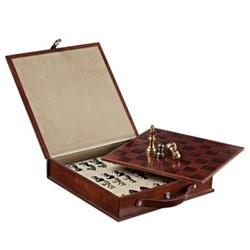 Chess set, L33 x W33 x H7cm, tan leather