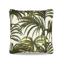 Palmeral Medium linen cushion, 45 x 45cm, white/green