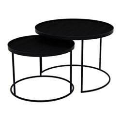 Round nesting tray table set