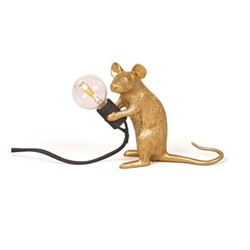 Mouse Sitting Lamp, L15 x W5 x H12.5cm, gold