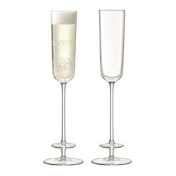 Champagne Theatre Pair of champagne flutes, H26 x D7cm, tier/clear