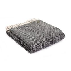 Herringbone Knee rug, 70 x 183cm, charcoal/silver