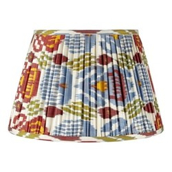 Ikat Silk lampshade, H15 x Dia20cm, Red/green/blue