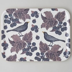 Blackbird & Bramble Large tray, 43 x 33cm, birch veneer/purple/pink