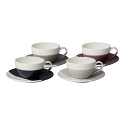 Coffee Studio Set of 4 cappuccino cups and saucers, 26cl, white/grey