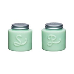 Milk Glass Salt and pepper shaker, H7 x D6cm, green