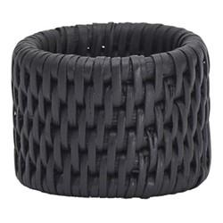 Ashcroft Set of 6 napkin rings, Dia5.5cm, charcoal rattan
