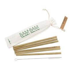 Bambam Set of 6 straws, bamboo, cotton