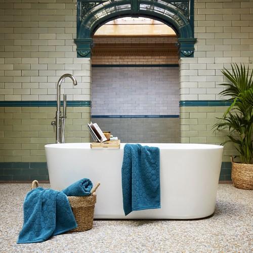 Honeycomb Pair of bath towels, 76 x 137cm, peacock