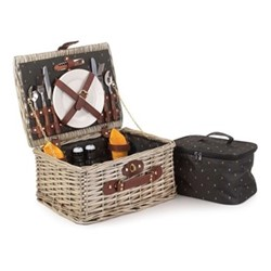 Nature Picnic hamper 2 person, H19 x W27 x L37cm, willow