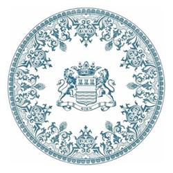 Les Dépareillées Bleu Blason Coaster, Dia13cm, white/blue