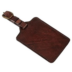 Plain leather luggage tag, 15.5 x 7.5cm, dark brown leather