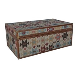 Aztec Large leather chest, H40 x W100 x D60cm