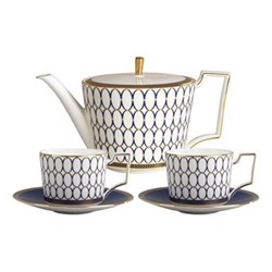 Renaissance Gold Tea set, blue/multi