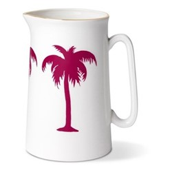 Palm Tree Pint jug, H13.5 x Dia9cm, gold rim