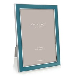 "Enamel Range Photograph frame, 4 x 6"" with 15mm border, teal with silver plate"