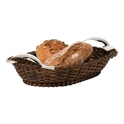 Bread basket, L34 x W24cm, dark brown and sterling silver