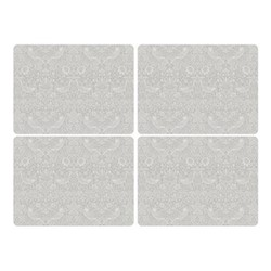 Pure Morris - Strawberry Thief Set of 4 large placemats, 40 x 30cm, grey/white