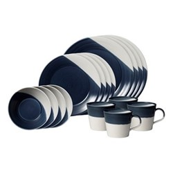 Bowls of Plenty 16 piece dinnerware set, dark blue