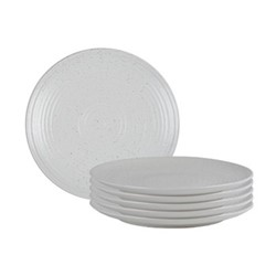 Lowther Set of 6 dinner plates, D27.5 x H2.5cm, off white