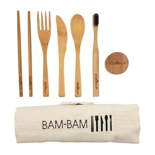 Bambam Cutlery set, bamboo, cotton