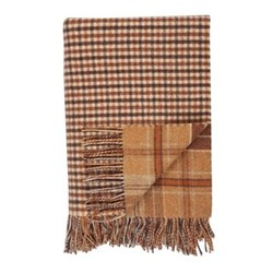 Checked Lambswool throw, 190 x 140cm, camel tweed/camel gunclub